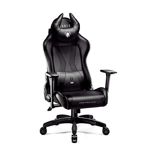 Diablo X-Horn Gaming Stuhl Bürostuhl Schreibtischstuhl 3D Armlehnen Ergonomisches Design Nacken/- Lendenkissen Kunstleder Wippfunktion (schwarz)