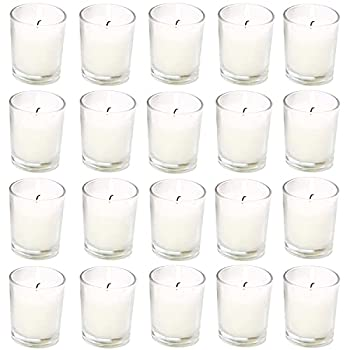 Unscented Clear Glass Votive Candles Long 15 Hour Burn Time for Home Spa Wedding Birthday Holiday Restaurant Party Birthday 20 Pack