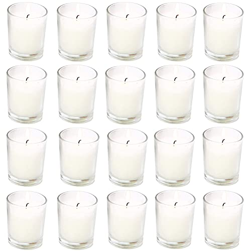 20 Pack Warm White Unscented Clear Glass Filled Votive Candles. Hand Poured Wax Candle Ideal Gifts for Aromatherapy Spa Weddings Birthdays Holidays Party (Warm White)