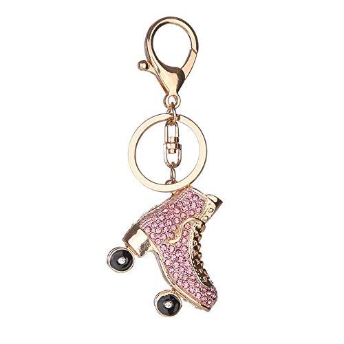 Daliuing Schlüsselanhänger für Damen und Mädchen, kreativer Rollschuh-Anhänger, Strass-Anhänger, tragbarer Schlüsselhalter, Zubehör, Handtasche, Tasche, Charm, Dekoration, Ornament