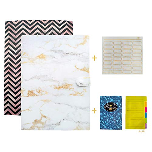 Pineapple Office Expanding File Folder incl Sticker Labels - A4 Letter Size Document Organizer - Expandable 6 Pockets & Pocket for Small Papers - Accordion Paper Holder (2 Pack Marble + Rose Gold)