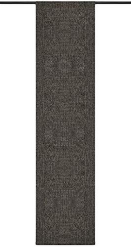 Rollmayer Blickdicht Leinenoptik Schiebevorhang/Flächenvorhang inkl. Beschwerungsstange im 60x200CM Melange (Braun 17S, Klettband) Schiebepaneele Schiebegardine Vorhang Raumteiler