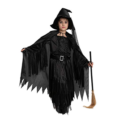Spooktacular Creations Classic Child Wicked Witch Costume Gothic Sorceress Girl Black Witch for Halloween (Medium ( 8- 10 yrs))