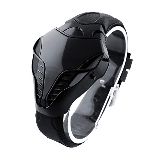 NA Coole Cobra Snake Watch -Fashion Sports Herren Casual Watch Rote LED Digitaluhr Silkicone Armbanduhr Schwarz