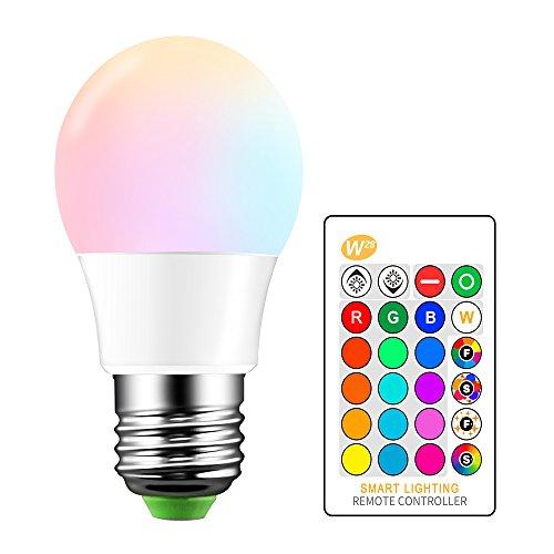 Bombilla LED RGBW que cambia de color, SUNASQ E27 Atmosphere Mood Lighting Lámpara LED con control remoto IR, 16 opciones de colores para la decoración del hogar Bar Party KTV Stage Effect Lights.