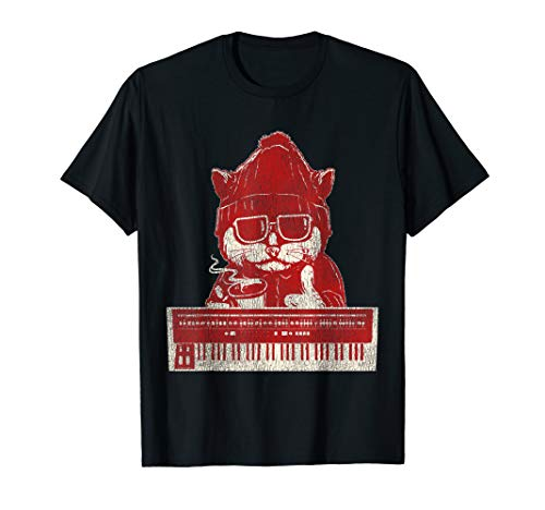 Vintage Synthesizer Cat Synth T-Shirt