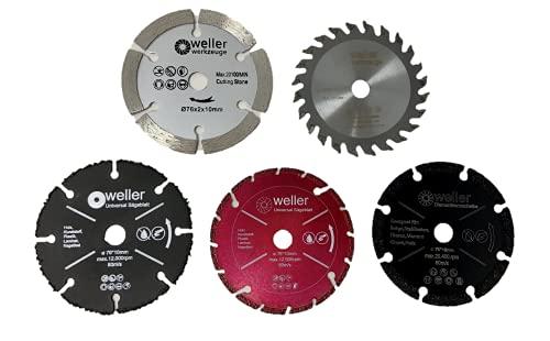 Juego de discos de corte de 76 x 10 mm, apto para mini amoladora angular con batería, disco de corte de diamante, multisierra