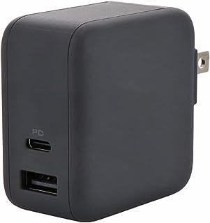 MOTTERU (モッテル) PD65W対応 コンパクト USB-C×1ポート USB-A×1ポート 2台同時使用時最大63W AC充電器 2年保証 日本メーカー スモーキーブラック MOT-ACPD65WU1-BK ( PD対応ノートパソコン...