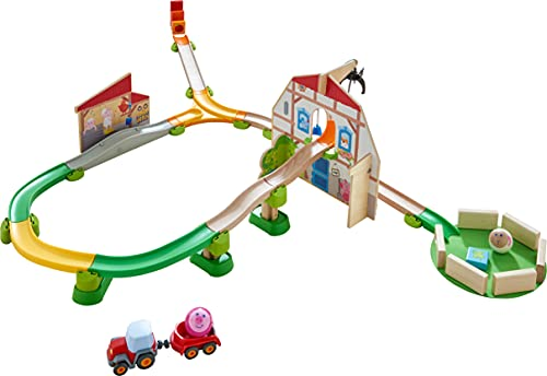 HABA 305397 - Kullerbü – Sound-Spielbahn Bauernhof, Kugelbahn aus Holz mit Spielkulissen, Traktor, Krangreifer und realitätsnahen Bauernhof-Klängen, Holzspielzeug ab 2 Jahren