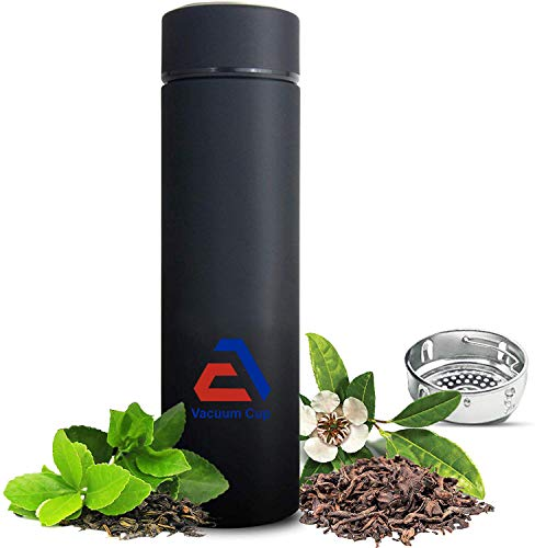 EA Company Travel Mug - Tea Infuser Bottle with Loose Leaf Strainer Hot Insulated Thermos for Coffee Cold Fruit Infused Water Flask Tumbler Double Wall Stainless Steel Bonus Sleeve