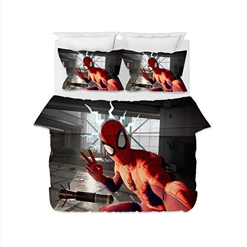 DDONVG Spiderman - Juego de funda nórdica de 150 x 200 cm, microfibra, 1 funda nórdica con cremallera y 1 funda de almohada de 50 x 75 cm, 100% suave y cómoda (140 x 210 cm)