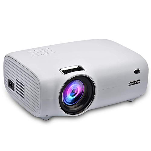 Everycom X8 Native 720P (Full HD 1080p Support) 3200 Lumens   Large 200-inch Display Home Theatre LED Projector with HDMI + VGA + Aux + USB Connectivity - (White)