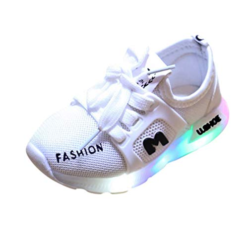 Baby Girls Boys LED Sneaker, Mesh Breathable Comfort Sport Flashing Shoes Lace up Footwear White