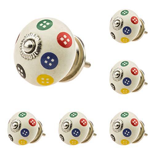 Jay Knopf 286 - Set di 6 pomelli per mobili, in ceramica, decorati a mano, stile vintage shabby, per armadio, cassetto, comò, porta