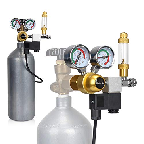 DoubleSun Aquarium CO2 Regulator Big Dual Gauge Display with Bubble Counter and Check Valve and Updated 110V Solenoid Fits Standard US Tanks