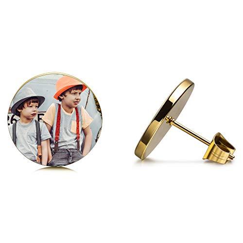 MeMeDIY personalisierte Ohrringe für Männer Frauen Jungen Mädchen Gravur Name/Foto/Initiale Monogramm Siegel Ohrring für Geburtstag Weihnachten Jubiläumsgeschenk Schmuck (Goldfarbe)