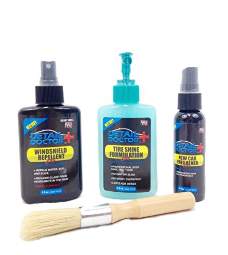 Car Cleaning Kit: Car Air Freshener, Tire Shine Gel, Windshield Repellent