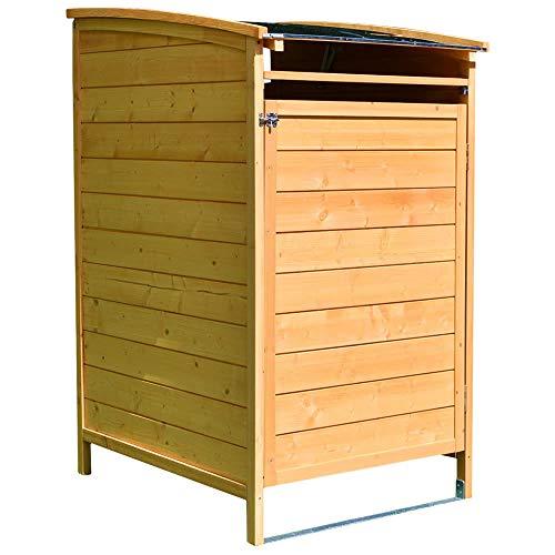 Melko Mülltonnenverkleidung Einzelbox 120 Liter aus Holz 73 x 85 x 127 cm, inkl. Rückwand