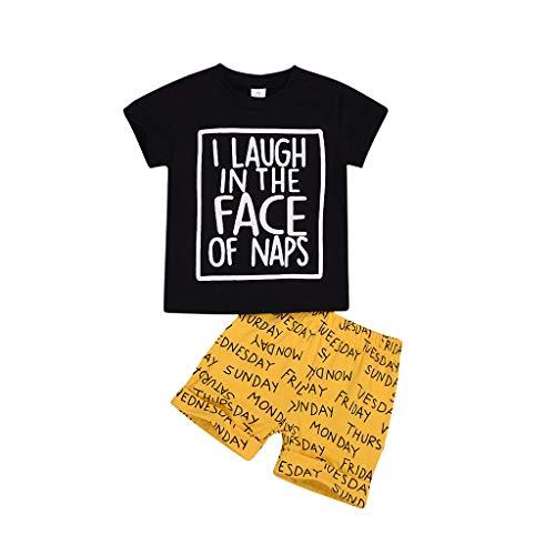 Hui.Hui Ensemble de Nouveau-né Vêtements Bébé Garçon Fille 2 PiècesTenues Chemise à Lettre Impression Tops T-Shirt à Manches Courtes et Alphabet Imprimé Shorts Printemps pour Enfants 0-3 Ans