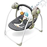Electric Baby Swing,Soothing Portable Swing with Intelligent Music Vibration Box,Comfort Rocking Chair Load Resistance: 55lb, Applicable Object: 0-36 Months for Infants Dark Gray Soft Seat with Toys