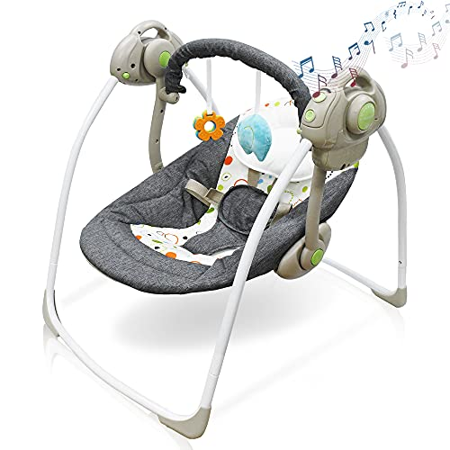 Baby Swing, IECOPOWER Electric Baby Swing & Chair Bouncers with Stuffed...