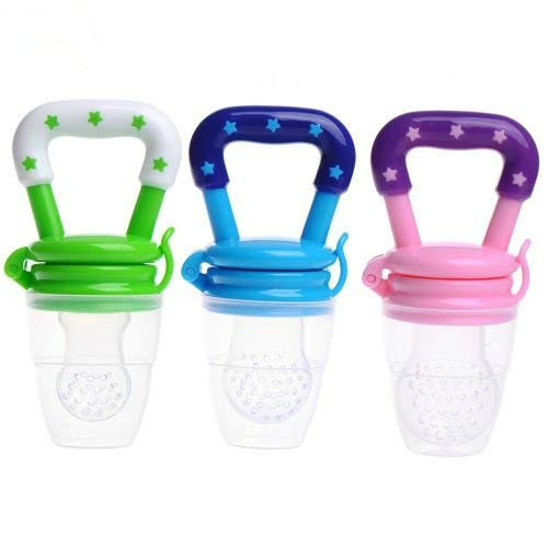 3 Pack Baby Fruit Feeder Pacifier Teething Toys Fresh Food Feeder Infant Fruit Teething Toy Silicone Pouches for Toddlers Kids Boy Girl S M L