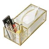 ZAJ Portarrollos para Papel higiénico Vidrio de Bronce Caja de pañuelos cosméticos salón Creativo de Control Remoto de Almacenamiento Sencilla casa Sujetarrollos de Papel higiénico