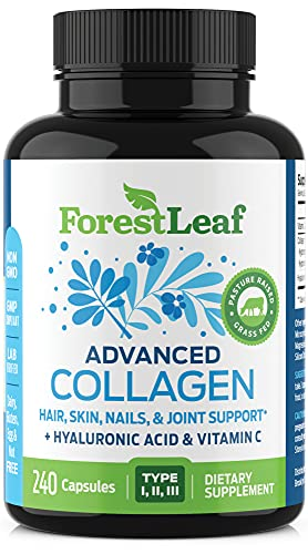 Advanced Collagen Supplement, Type 1, 2 and 3 with Hyaluronic Acid and Vitamin C - Anti Aging Joint Formula - Boosts Hair, Nails and Skin Health - Capsules - by ForestLeaf (240 Capsules)