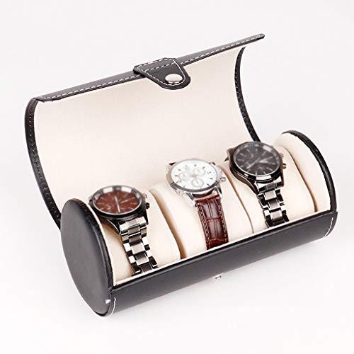 GYDSSH Negro de Cuero portátil Titular de Reloj de viajeros Rollo Organizador Pulseras de Almacenamiento del Caso de exhibición escaparate de la joyería con los amortiguadores