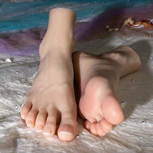 HKDJ-Weiblich Silikon Simulation Fußmodell Eingebauter Knorpel,Umweltschutzmaterial,Fühle Mich Realer Display Schmuck Sandale Schuh Socke Display Art Sketch,38 Code,1 Paar