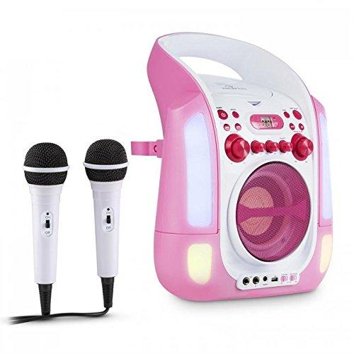 AUNA Kara Illumina - Kit Karaoke, 2 Microfoni Dinamici, Lettore CD+G , Top Laoding, Capacitá MP3, Uscita Video, usicta Audio, Effetto Eco, Funzione AVC, Rosa-Bianco