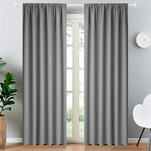 Yakamok Rod Pocket Room Darkening Thermal Insulated Blackout Curtains Window Drapes for Bedroom Width 52 Inch by Length 84 Inch,Grey, Two Curtain Panels