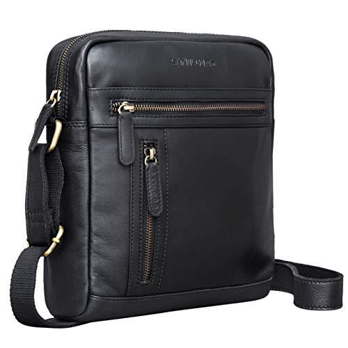 STILORD \'Vince\' Echtleder Umhängetasche Herren Schwarz Kleine Vintage Schultertasche für 10,1 Zoll Tablets Herrentasche aus Echtem Leder
