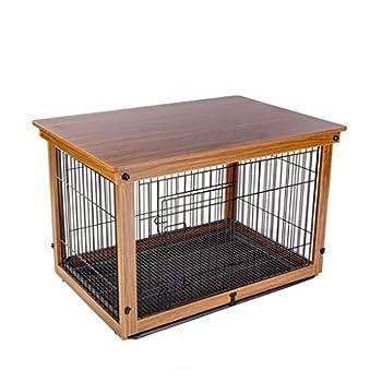 Chenils Cages Cage for Chien De Cage en Bois Massif for Chien Grande Clôture for Chien Clôture Extérieure avec Plateau Support De Plancher Cages (Color : Brown, Size : 64 * 52 * 58CM)