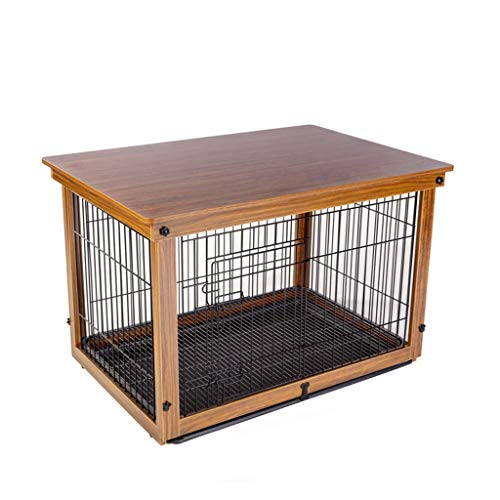 Cucce Gabbia for Cani Cuccia Gabbia di Animali Domestici in Ferro Massello Recinzione for Animali Domestici di Grandi Dimensioni Recinzione Esterna (Color : Brown, Size : 64 * 52 * 58CM)