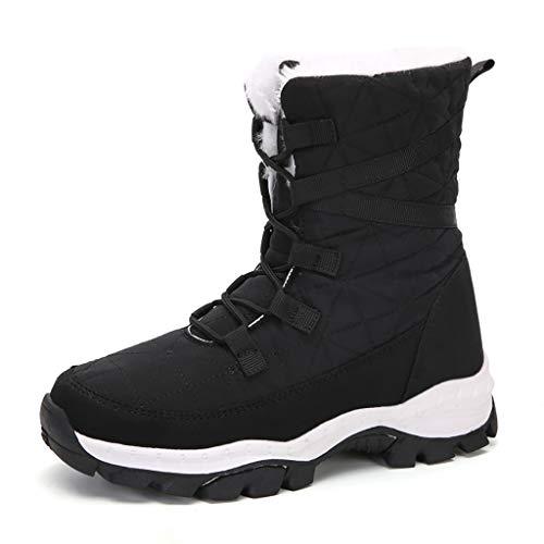 Botas de nieve de tobillo Polar para mujer, tubo largo antiesquí de invierno, con cordones, impermeables, de media pantorrilla, de algodón, para ocio, color negro, 42