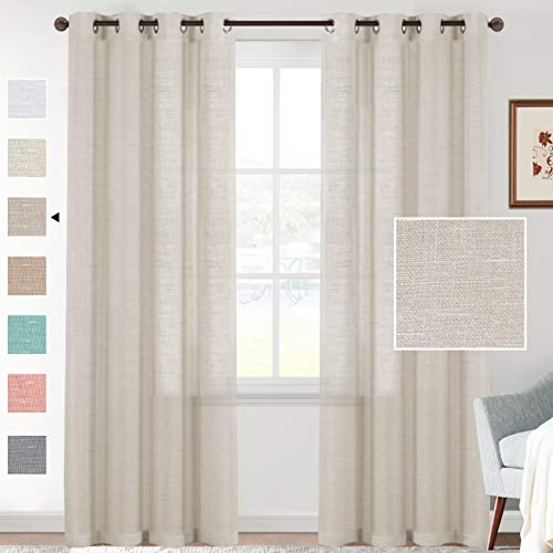H.VERSAILTEX Natural Linen Blended Semi Sheer Curtains 84 Inches Long Rich Linen Textured Window Draperies for Living, Country Rustic Curtain Drapes for Village Cabin Garden (Linen, 2 Panels)