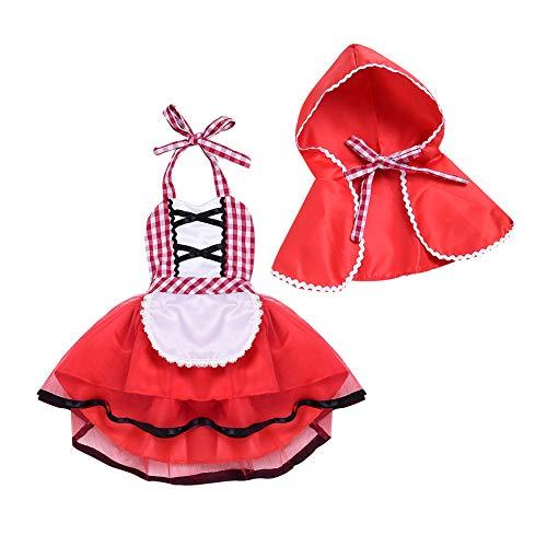 FYMNSI Niña Bebé Disfraz de Caperucita Roja con Capa Cuento de Hadas Little Disfraz de Equitación para Halloween Carnaval Cosplay Navidad Fiesta de Cumpleaños Fotografía Vestirse 0-4 Años