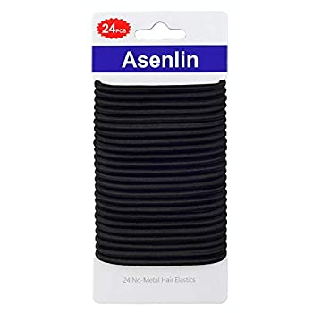 Asenlin Hair Ties Bands 4MM Durable Neutral Ouchless Accessories for Women Men Girls No Metal Elastics Thick Tie with Strong Ponytail Holder and for Medium Hair 24 Count of 1 Pack -Black