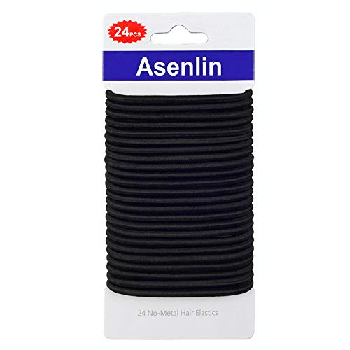 Asenlin Hair Ties Bands 4MM Durable Neutral Ouchless Accessories for Women Men Girls No Metal Elastics Thick Tie with Strong Ponytail Holder and for Medium Hair(24 Count of 1 Pack)-Black