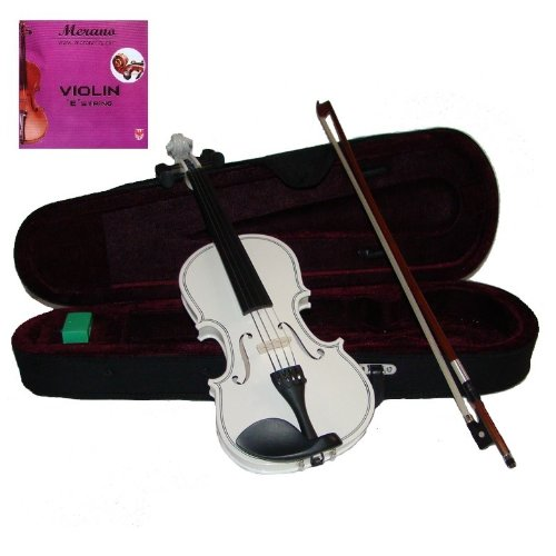 Merano 4/4 (Full) Size White Acoustic Violin with Case and Bow+Free Rosin+Merano Brand E String