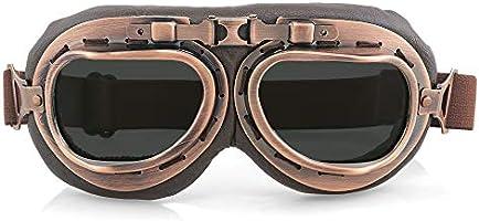 ゴーグル ヴィンテージレトロ オートバイ サイクリング スポーツゴーグル メガネ ヘルメット眼鏡 PCレンズ UVカット 保護メガネ 防砂塵 防風 パンクゴーグル (黒)