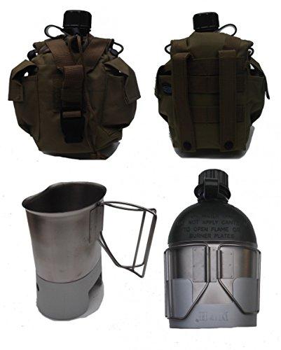 Diverse Feldflasche mit Molle Flaschentasche Coyote, Kocher und passendem Feldflaschenbecher