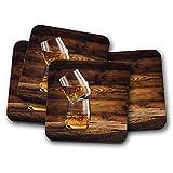 Juego de 4 posavasos con diseño de Whisky On The Rocks, barra de madera de roble con alcohol, regalo #16204