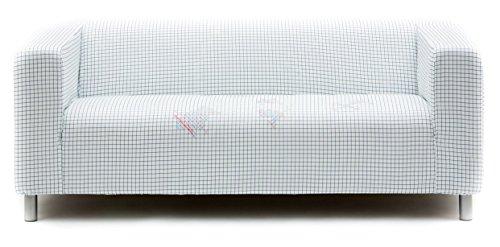 Artefly Klippan Sofabezug Design TIC TAC TOE mit Kissen Bezug passend für Ikea Klippan Zweisitzer