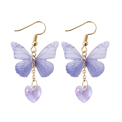 U-K Pendientes Elegantes para Mujer Tul Transparente Forma de Mariposa Gemstone Pendientes en Forma...