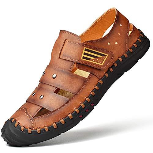 FTFDTMY Sandalias de Cuero Casual Verano Beach Sandal para Hombre Transpirable Moda Zapatos al Aire Libre Sandalias,Marrón,41