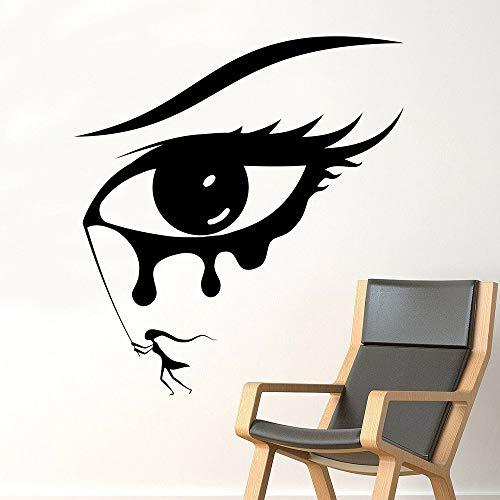 Tianpengyuanshuai Meisjesoog Muurtattoo Slaapkamer schoonheid Make-up Vinyl Muursticker verwijderbaar Home Decor