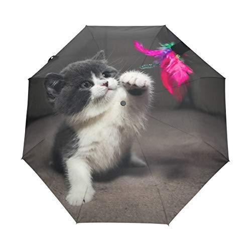 Graue Katze Kitty Blume Regenschirm Auf-Zu Automatik UV-Schutz Taschenschirm Winddichter Umbrella Klein Leicht Schirm Kompakt Schirme für Jungen Mädchen Reise Strand Frauen
