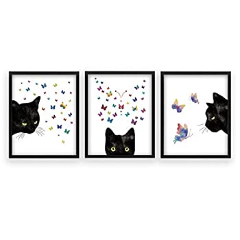 Black Cat Black Cat With Butterfly Framed Art Print,Set Of 3 Watercolor Kitty Poster,Ready to Hang Kitten Animal Canvas Wall Art For Living room ,Bedroom Decor,8X10inch